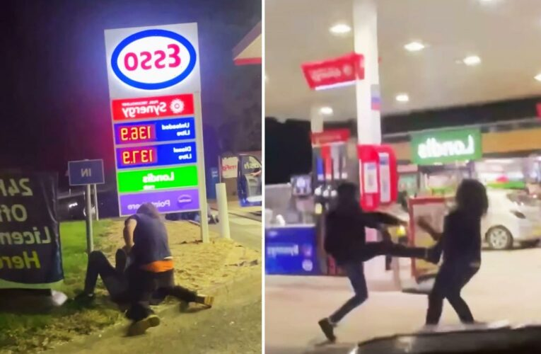 Brawl breaks out at petrol station forecourt as tension flare over fuel shortage fears