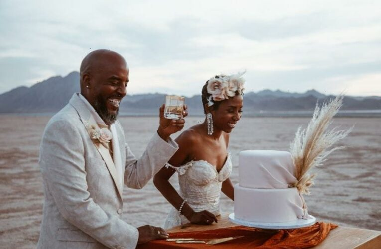 Bridal Bliss: Riqua And Andre's Las Vegas Wedding Included Showgirls, The Strip, And A Stunning Desert Ceremony