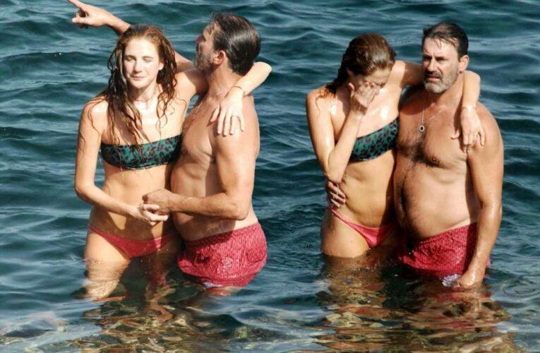 Jon Hamm and girlfriend Anna Osceola show PDA while swimming in Italy
