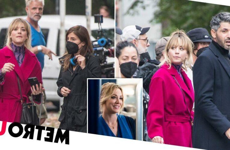 Kaley Cuoco wraps up warm filming The Flight Attendant season 2 in Berlin