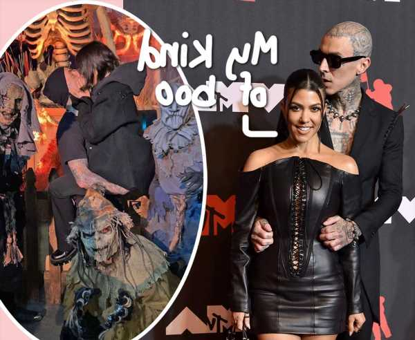 Kourtney Kardashian & Travis Barker Can't Stop Making Out Even Surrounded By Monsters At Knott's Scary Farm!
