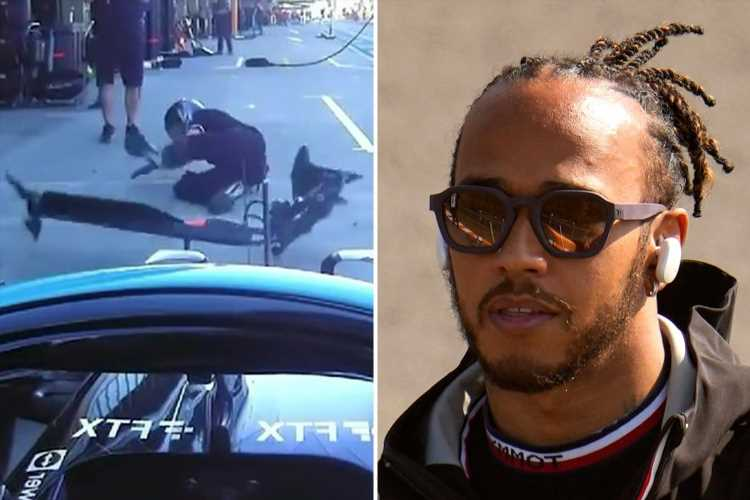 Lewis Hamilton sorry after wiping out mechanic as he misses his Mercedes box in Russian Grand Prix pit lane