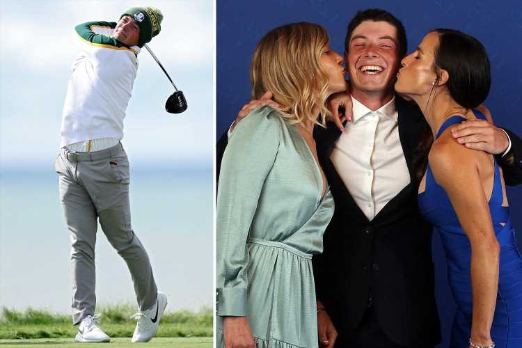 Single Ryder Cup star Viktor Hovland beams as he is kissed by team-mates' Wags at Team Europe Gala Dinner