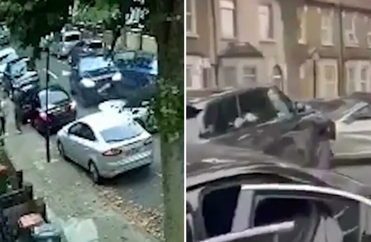 Terrifying vid shows stolen Range Rover repeatedly ram BMW with 2 kids inside and smash 12 parked cars in London street
