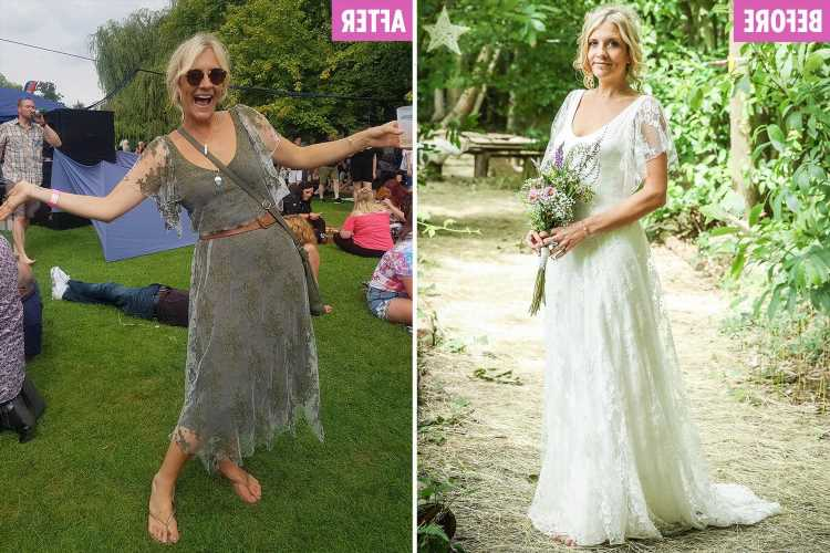 Thrifty bride chops up her £500 wedding dress and dyes it green so she can wear it every day – The Sun