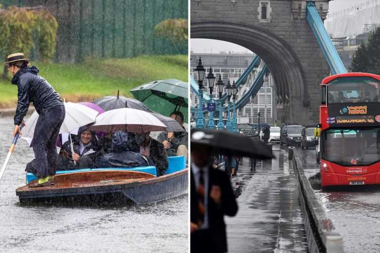 UK weather – Floods and power cuts this weekend as 2ins rain falls in 'short time' after 23C sun, Met Office warns