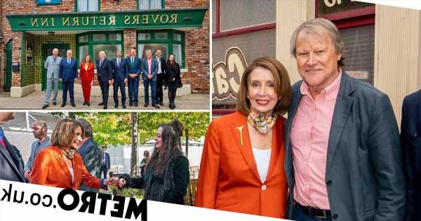 US politician Nancy Pelosi visits Corrie to discuss Nina hate crime storyline