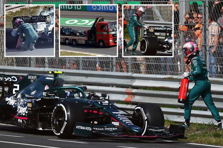 Watch F1 star Sebastian Vettel run to get fire extinguisher after smoke rises from his Aston Martin on Dutch GP track