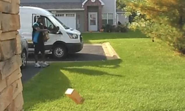 Amazon driver caught hurling two packages onto customer's porch