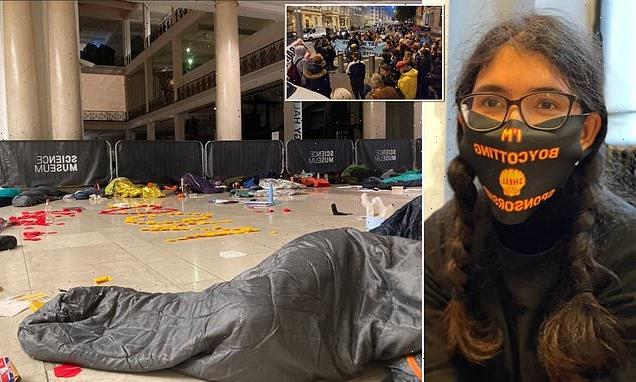 Climate activists stage a 'sleep over' at the London Science Museum