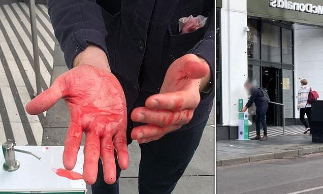 Customers squirt 'blood' on hands after sanitiser stations hijacked