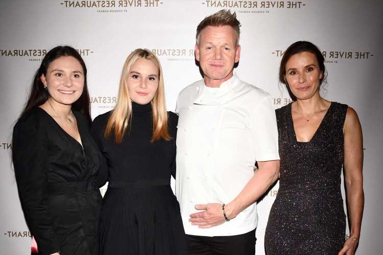 Gordon Ramsay poses with his rarely seen other daughters Megan and Holly at restaurant launch