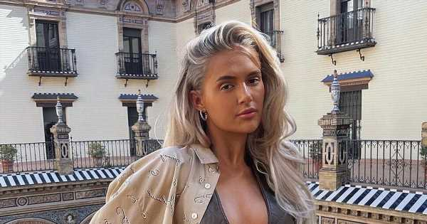 Molly-Mae looks stylish in a plunging leather vest while teasing new PLT project