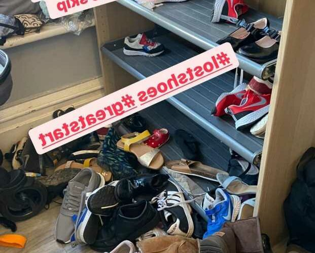 Mum-of-22 Sue Radford gives sneak peek into her VERY messy shoe cupboard – and it's proof she isn't supermum after all