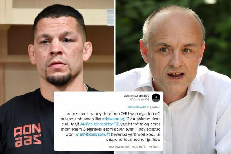 Nate Diaz bizarrely told to quit UFC as ex-Boris Johnson aide Dominic Cummings tweets 'they screwed Georges St-Pierre'