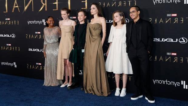 Shiloh Jolie-Pitt, 15, Stuns In Mom Angelina's Beige Dress At 'Eternals' Premiere